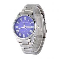 经典商务手表 精品罗马刻度防水双日历男士钢带表 批发长期供应