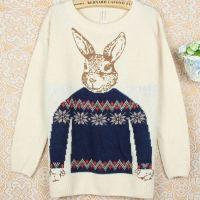 模特实拍 秋季新款 毛衣 女 套头针织衫 兔头 打底衫