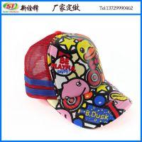东莞帽子工厂定制 韩版街头嘻哈情侣网帽 B-DUCK卡通印花卡车帽