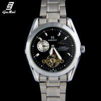 供应古迈 正品男士手表商务机械表合金圆形表盘镂空透明底盘腕表手表