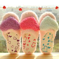 爱心毛绒棉拖鞋居家鞋秋冬季居家室内防滑软底情侣地板拖鞋保暖鞋