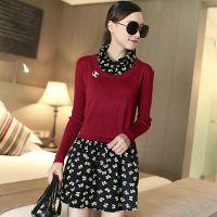 2014秋装新款女装韩版长袖针织衫毛衣裙假两件套打底衫薄毛衣外套