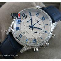 高大上蝶飞石英计时机芯男表 镶钻蓝指针刻度皮带按扣手表AA122