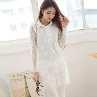 1293#(模特实拍)秋冬新款韩版包臀裙蕾丝翻领打底连衣裙女