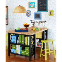 美式做旧现代简约实木客厅餐厅卧室铁艺桌子办公桌书桌电脑桌