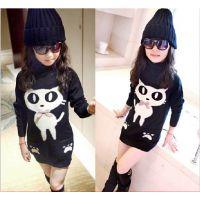 中大童韩版童装女童高领打底衫加绒加厚卡通小猫中长款童t恤z2.1