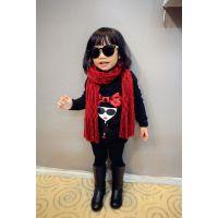 冬季女童装韩版儿童可爱头像蝴蝶结上衣中小童宝宝长款加厚卫衣A