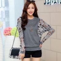 2014秋季新款大码女装蕾丝拼接韩版T恤 宽松长袖打底衫女 批发