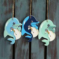 新品地中海风格创意木质海豚鱼串装饰挂件墙壁装饰挂饰摆件