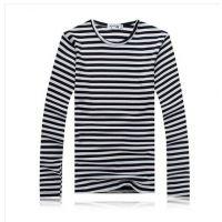 2014秋装男士圆领T恤衫长袖打底衫男条纹001甲L425