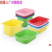 宜家风格塑料盒 四喜人批发大小多色塑料玩具收纳盒HJL-0255/0256