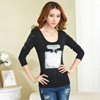 2014秋装新款T恤韩版女装修身绣花烫钻大码长袖打底衫学生装上衣