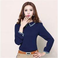 2014秋季新款 韩版绣花修身显瘦钉珠雪纺衫 女式长袖打底衫