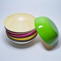 巨匠厂家定制时尚西式环保全手工竹片彩色小竹碗