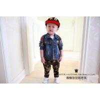 2014秋装新款 韩版宝宝儿童小童男童装迷彩做旧牛仔衫外套
