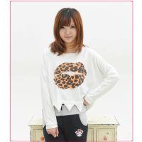 T2013秋季新款 外贸原单 大嘴唇波浪长袖打底衫 圆领加厚女式T恤