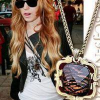 新款欧美风饰品女 时尚气质宝石项链 方形琥珀豹纹毛衣链厂价批发