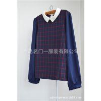2014时尚日系女 新款清新原单女装 秋冬新品雪纺领子格格衬衫