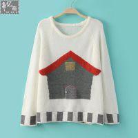 2014秋冬季新款 卡通小房子图案 女式打底衫套头针织衫5399