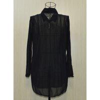 厂家批发春装新潮款雪纺衫蕾丝衫网纱polo领翻领中长款黑色打底衫