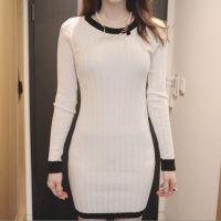 14秋冬韩国东大门女装批发代理修身显瘦包臀针织长袖打底连衣裙女