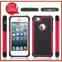 有现货 iPhone5三合一足球纹手机保护套 硅胶+pc防摔手机壳批发