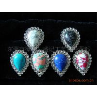 盛记宝石  合金戒指 水滴形绿松石戒指 宝石戒指 欧美戒指 戒指