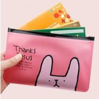 C375 韩国文具多用途小兔透明收纳小袋 文具袋拉边袋pvc笔袋批发