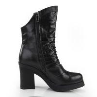 韩版新款显瘦高跟女靴春秋真皮粗跟短靴尖头马丁靴裸靴子 欧洲站