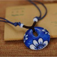 萌猫手绘青花瓷项链陶瓷首饰 漂漂陶瓷 手工手绘向日葵 青花瓷