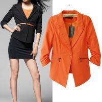 厂家直销2014秋季新款欧美专柜同款时尚修身松紧袖小西服外套批发