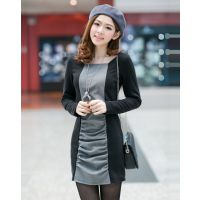 大量现货 秋冬新款韩版加绒长袖连衣裙保暖修身时尚包臀打底裙