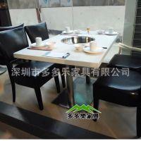 厂家直销傣妹电磁炉火锅桌,防火板火锅餐桌子、四人位火锅餐桌