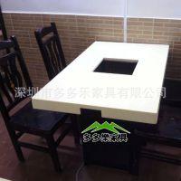 家具厂家热卖石英石火锅桌 餐厅石英石火锅桌椅家具