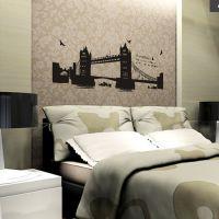 淘宝速卖通 伦敦大本钟双子桥客厅卧室沙发背景风景墙贴 AY1935