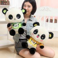 出口大号熊猫公仔穿衣大头熊猫儿童玩具毛绒玩具动物厂家直销批发