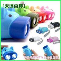 环保led手压式电筒 可爱小猪 手压式自发电手电筒 节能手电筒批发