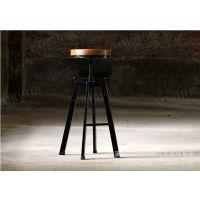 美式乡村风格复古防锈做旧铁艺吧台椅 旋转升降吧凳 实木酒吧椅子