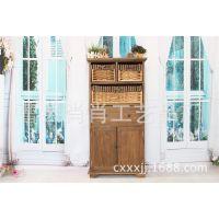 肖肖家居热销中式仿古4层双开门收纳柜 定做木制草柳编收纳柜