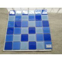 游泳池用什么瓷砖-三色蓝水晶玻璃马赛克-泳池专用瓷砖