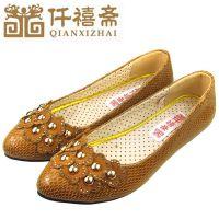 仟禧斋平底单鞋批发 老北京布鞋新款女鞋 网状漆皮鞋面中年妈妈鞋