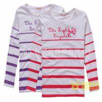 品牌野豹童装2013春秋新款女童纯棉条纹长袖T恤打底衫一件代发