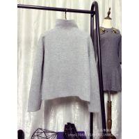 欧洲站2014王菲同款小高领针织毛衣中长款灰色套头打底衫一件代发