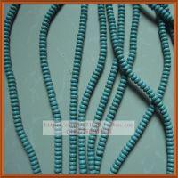 厂家直销天然石散珠首饰配件 绿松石算盘籽珠 diy扁珠隔珠 蓝色