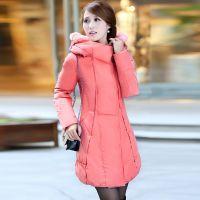 中老年女式羽绒服2014新款韩版修身收腰中长款大码外套妈妈装冬装