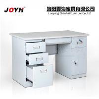 厂家直销 简易家用办公台式电脑桌 钢制防火板左三斗右柜写字桌