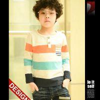 2014男童T恤 秋季新款男童拼色条纹T恤 儿童长袖打底衫t恤