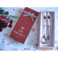 热销勺子筷子叉子粉色精美包装陶瓷手柄不锈钢套装餐具