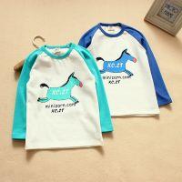 2014秋季新款 韩版童装 儿童卡通打底衫 男女童拼接T恤衫 JH