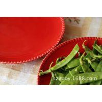 外贸彩绘陶瓷盘子 特色餐厅餐具个性创意装饰挂盘平盘 欧美品牌